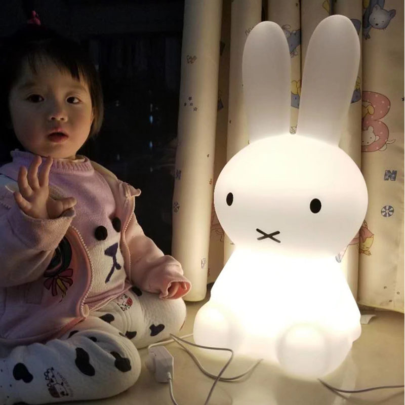 Cute Rabbit LED Night Light Dimmable Baby Children Holiday Gift Toy Animal Cartoon Decorative Bedside Bedroom Living Room Lamp beiaidi smile face cloud rainbow led night light dimmable cartoon night lamp with remote baby bedside lamp kids toy gift light