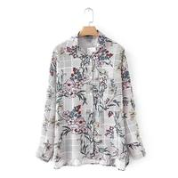 Autumn Long Sleeve Turn Down Collar Loose Shirt European Style Chic Tops Blusas Women Vintage Floral