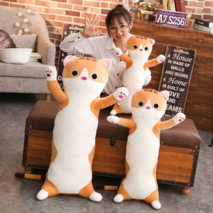 Image 5 - 1pc 65/90cm long Cat Pillow Plush toy soft cushion stuffed animal doll sleep Sofa Bedroom Decor Kawaii Lovely gifts for kids