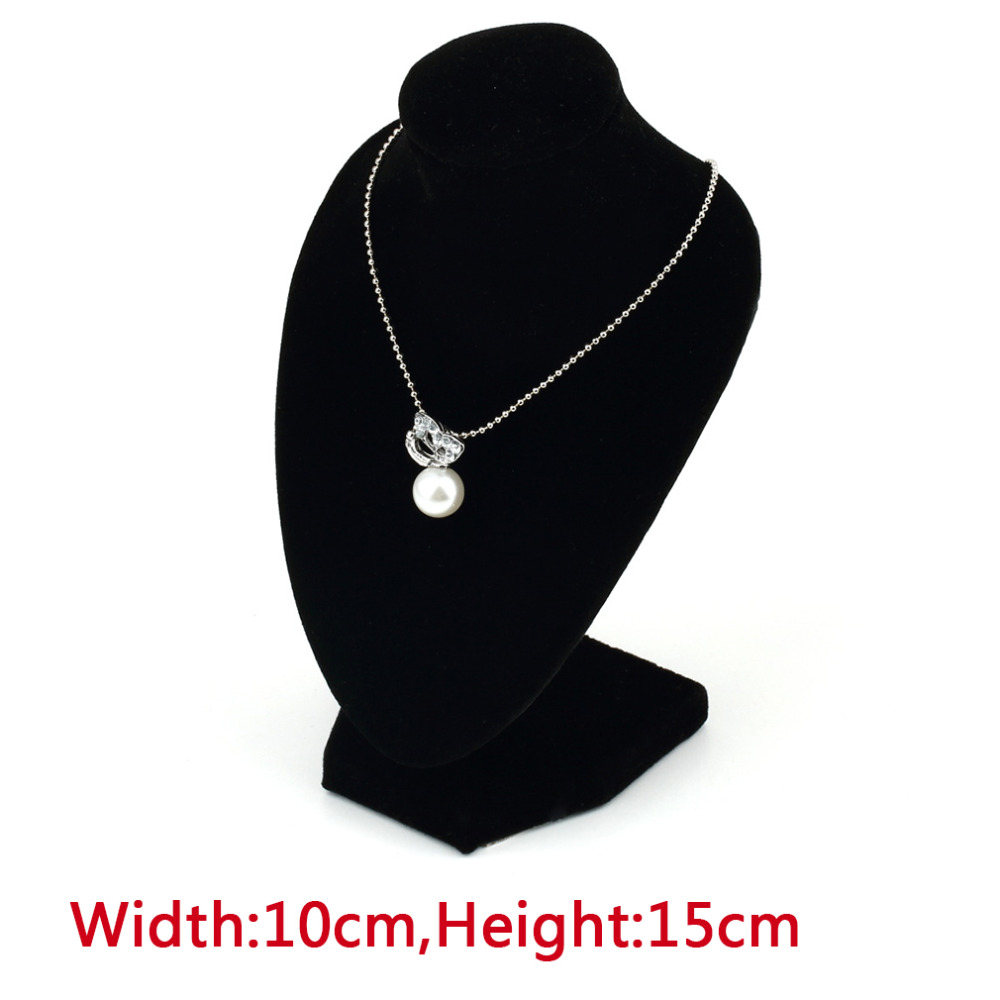 Lady Girl's Velvet Half Body Necklace Display Pedestal Jewelry Chain Holder Bust  10*15cm Black Color
