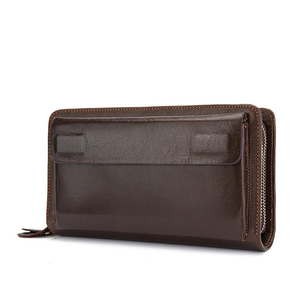 купить Men business wallets Genuine Leather with coin pocket long coin purse for men clutch Vintage Double zipper Large Passport Wallet по цене 2970.37 рублей