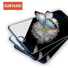 Suntaiho vidrio templado para iphone XS Max XR protector de pantalla película de vidrio protector para iphone x 6 7 5S SE 6 S 8 más cristal templado