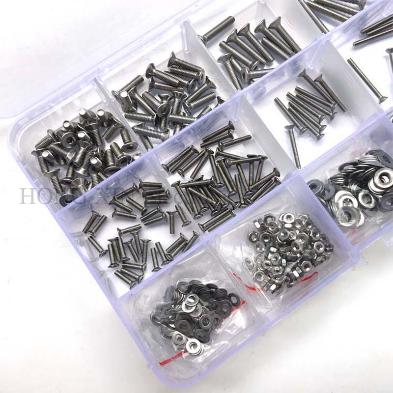 560pcs/set Bolt 304 Stainless Steel Screw Flat Head M2 M3 Hex Hexagon  Socket Flat Countersunk CSK Head Screw 8/12/16/20 length