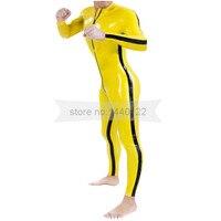 Желтый и боковые черные полосы латекса мужской комбинезон с молнией спереди Плотный Комбинезон Большие размеры Индивидуальные Сделано