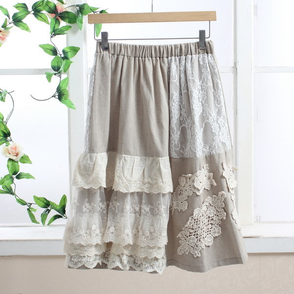 Crop Top Gothic Lange Rok Lolita Boho Skirt Dames Rokken Mesh Lace A Line Asymmetrical Jupe Taille Haute Falda Tul Mori Girl
