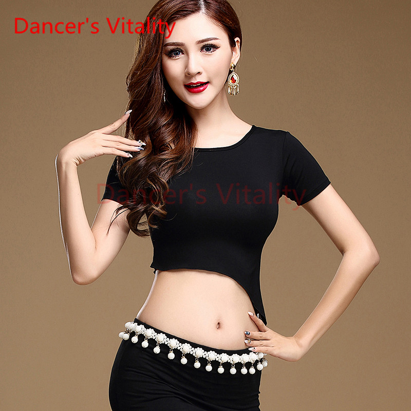 Dancer's Vitality New Brand 3 Colors Belly Dance Clothes Tops Women Deep V Short Sleeves Irregular Top For Belly Dance Clothes