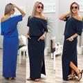 2017 Новый Сексуальный Лето Женщины Boho Maxi Dress Short Sleeve Разрез стороны Свободный Вечер Long Beach Dress with Pocket Vestidos