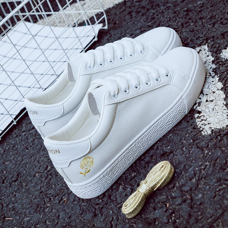 2018 Spring New Fashion Shoes Woman Flowers Casual High Platform Solid Color PU Leather Women Casual White Shoes Sneakers цены онлайн