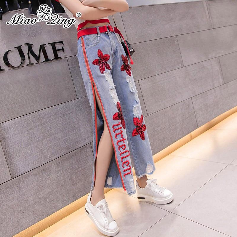 Coreano Miaoqing Cintura Blue Denim Vaqueros Dividir Ancho Streetwear Jeans Lateral Alta Mujeres Casual Pierna Del Pantalones De Las Bordado Cremallera Flor qqdrwCf