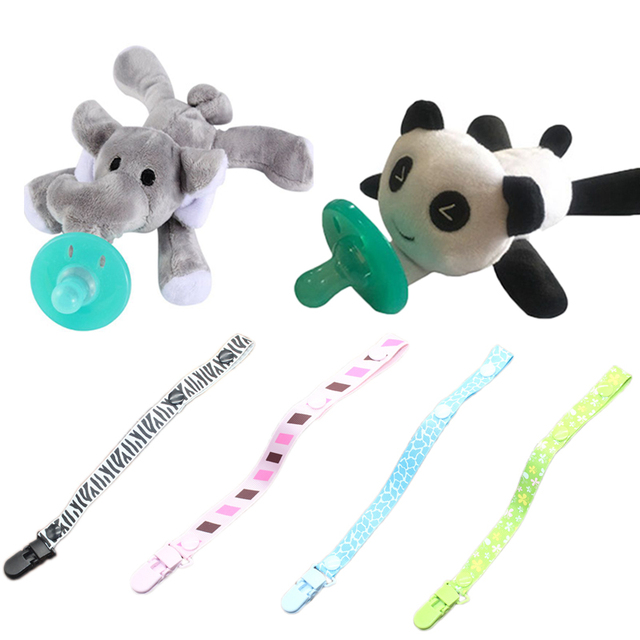 Baby Animal Pacifier Toys Giraffe Panda Dog Elephant Silicone Pacifier Pacifier Chain Holder For Nipples Soother For Newborns