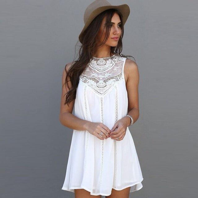 Мода Кисточкой Насыщенный Белый Мини Кружева Dress Summer Dress 2016 Sexy Women Casual Рукавов Пляж Короткие Dress Vestidos Плюс Размер