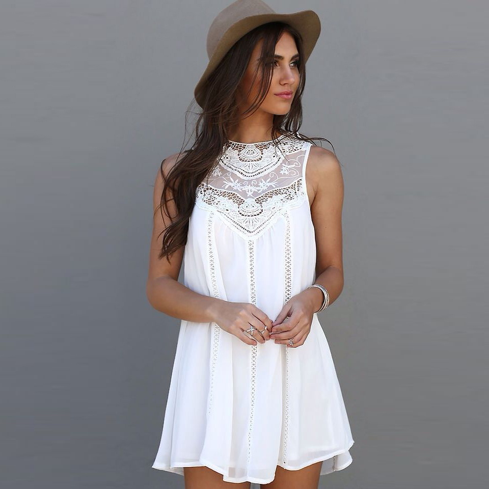 Fashion Tassel Solid White Mini Lace Dress Summer Dress 2016 Sexy Women Casual Sleeveless Beach Short Dress Vestidos Plus Size