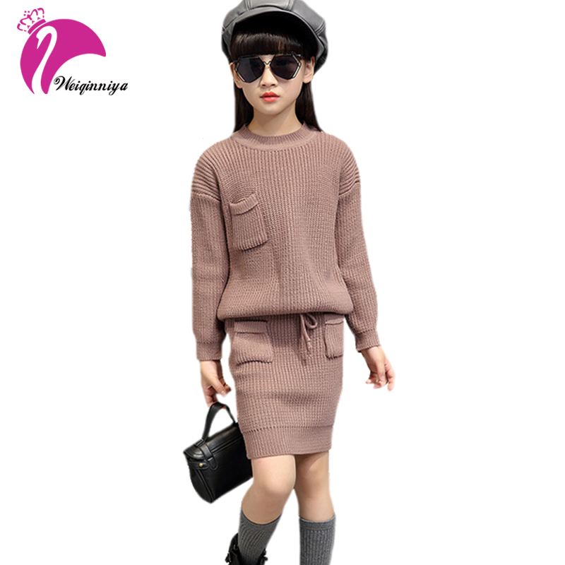 Winter Girls Sweater Clothing Set Children Warm Knitwear Sweater & Skirt 2 Pieces Dress Suit Teenage Kids Solid Clothes Set Hot