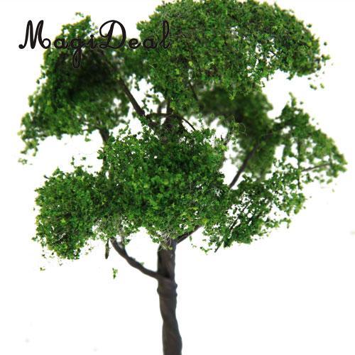 MagiDeal 1Pc 12cm Scenery Street Railway Railroad Green Scene Landscape Model Elm Tree For House Park Garden Layout Children Toy