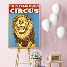 Cuadro artístico impreso sobre lienzo Vintage de León de circo, póster para pared, cuadros para decoración de habitación, cuadro para decoración del hogar, sin marco