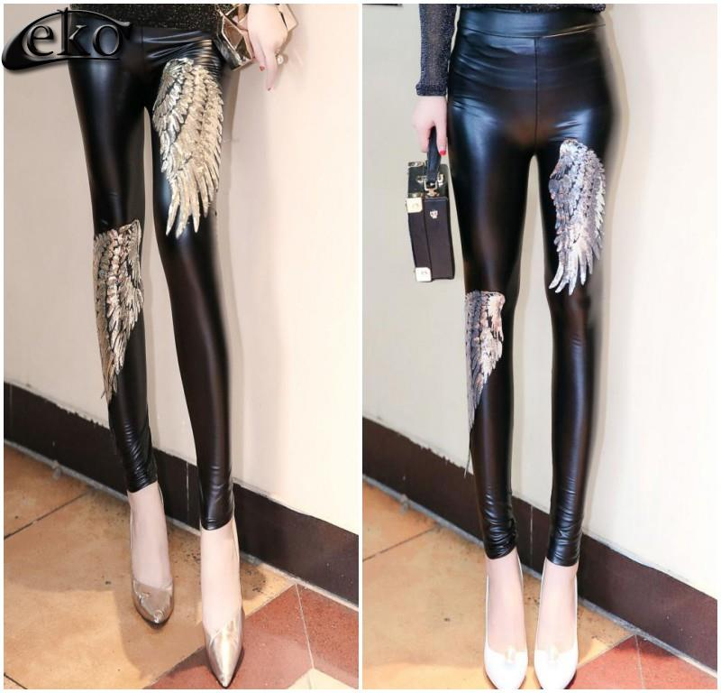 High Waist   LEGGING   Women Pants Womens   Leggings   Gold Silver Angel Wings Sequined Pencil   Leggings   for Women PU Leather Pants