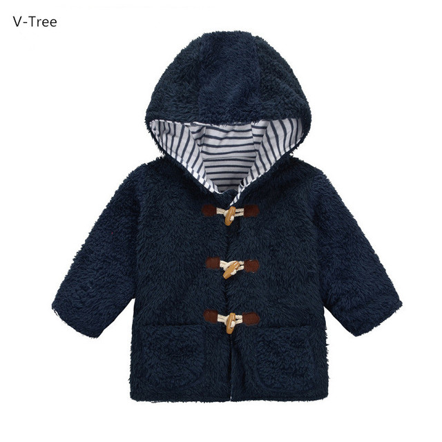Boy & Girl Coral Fleece/Velvet Outerwears Children Solid Thick Warm Coats For Autumn Winter Baby Kids Hooded Claw Button Jackets