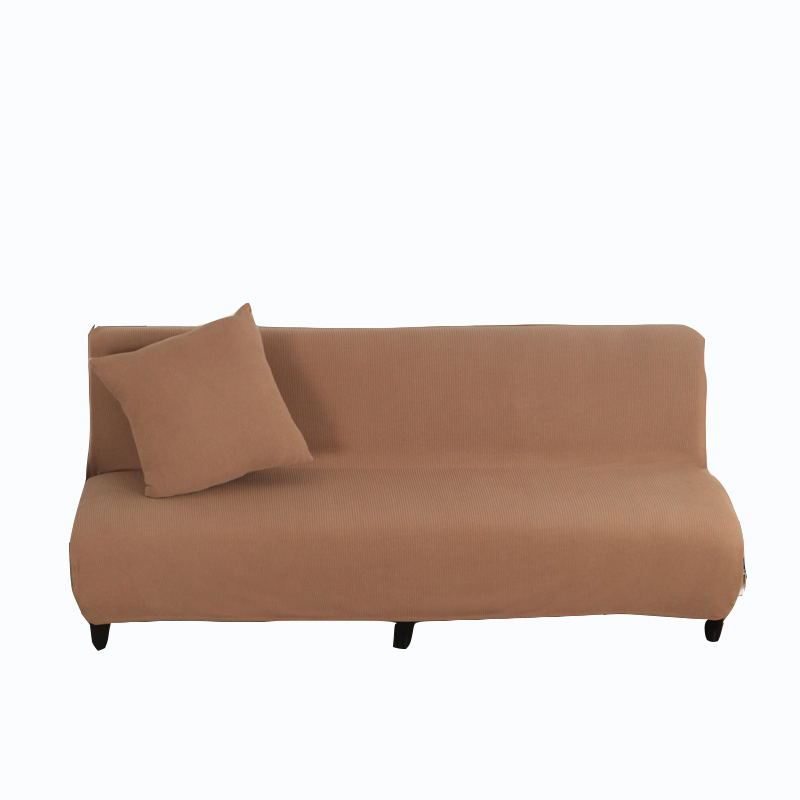 Brown Universal Stretch Armless Couch Sofa Covers Anti-slip Knitted Fabric Solid Color Sofa Bed Covers Elastic Slipcovers