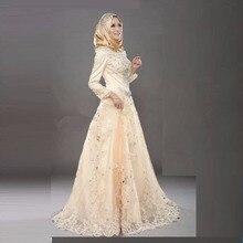Elegante Muslimischen Abendkleider Mit Schleier Long Sleeves Kristall Appliques Long Sleeves Abendkleider Hohe Kragen Bodenlangen