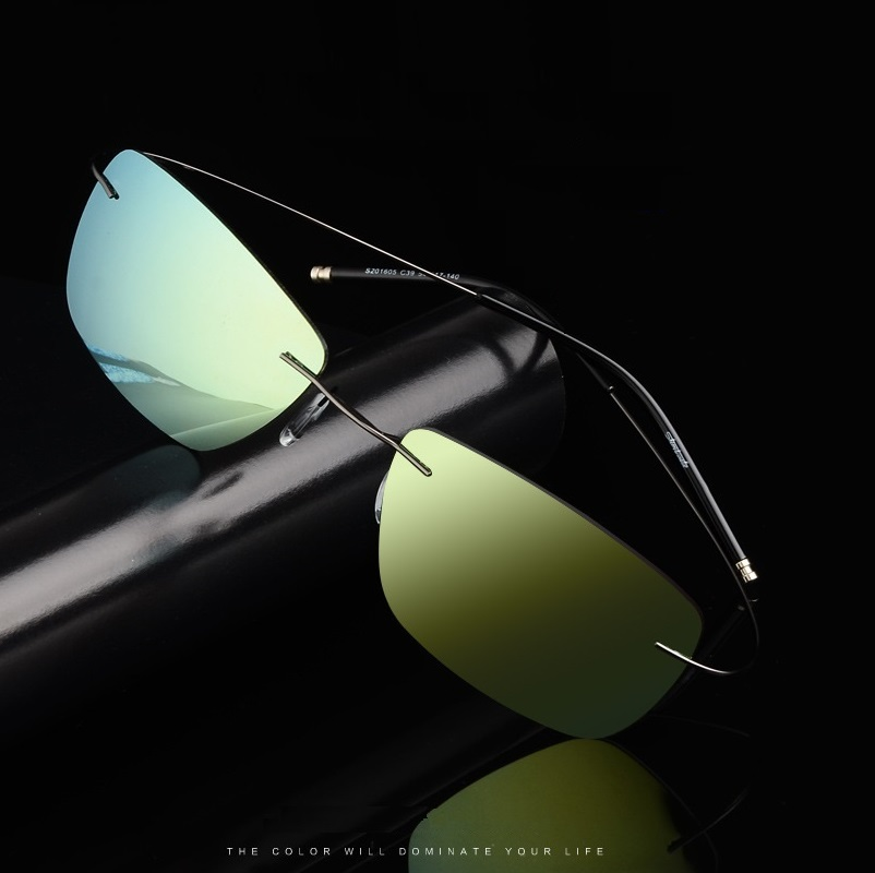 54-17-140 new colorful coating men Sunglasses Polarized Rimless Sunglasses super Memory elastic temple driving mirror sunglasses