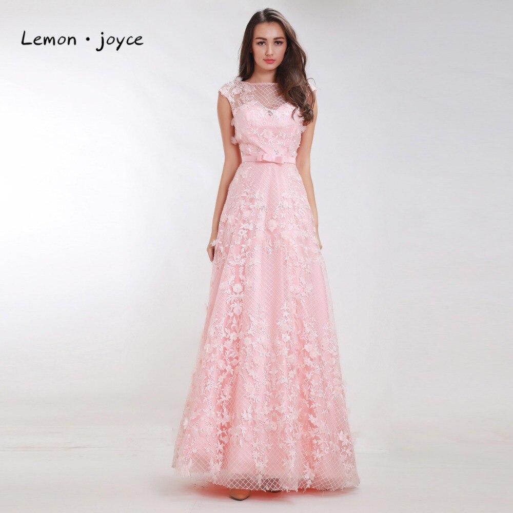 Lemonjoyce Luxus Rosa Prom Kleider mit Kappe Ärmeln Blume Sehen ...