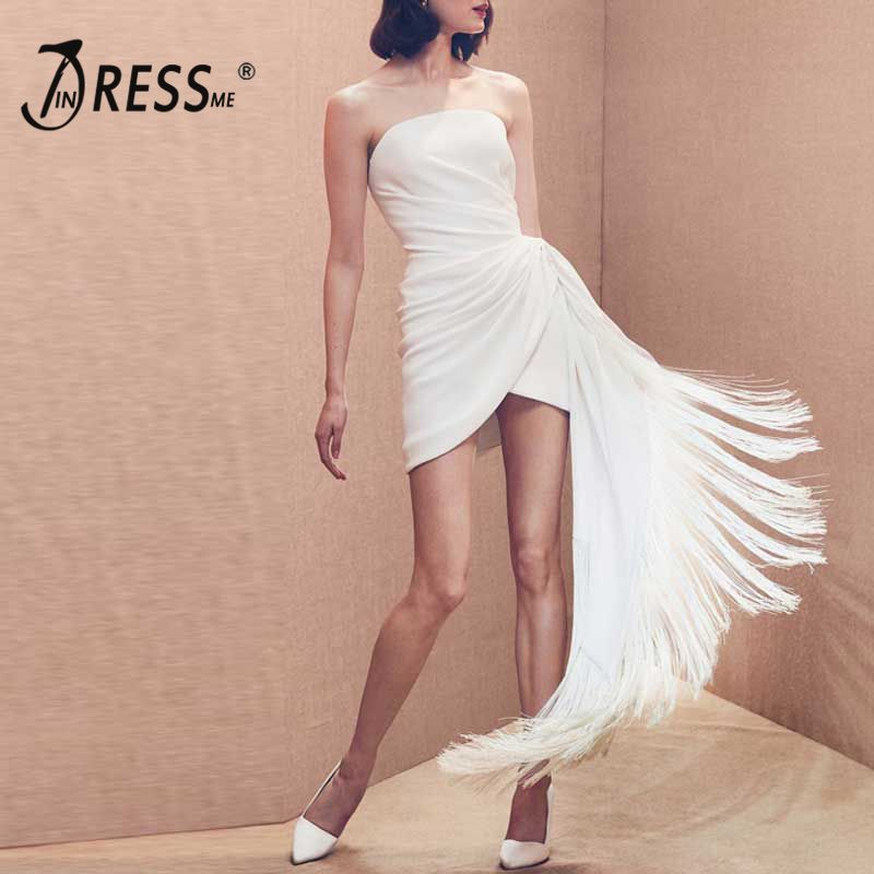 Женское Асимметричное мини платье INDRESSME, белое платье бандо без бретелек, с рюшами и бахромой, новинка 2019