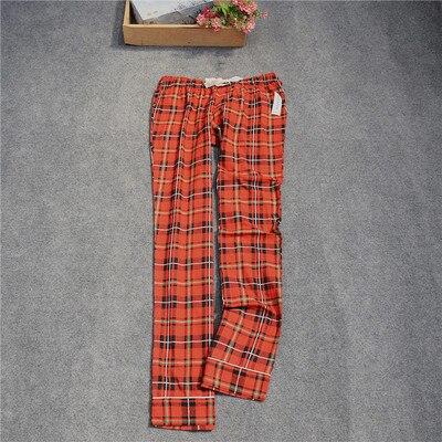 Женские брюки; длинные брюки; тканые хлопковые брюки для сна; женские брюки - Цвет: Red grid
