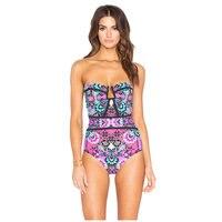 NODELAY Sexy Wrap Breast Swimsuit 2018 One Piece Suit Swimwear Women Foral Print Bathing Suits Beachwear