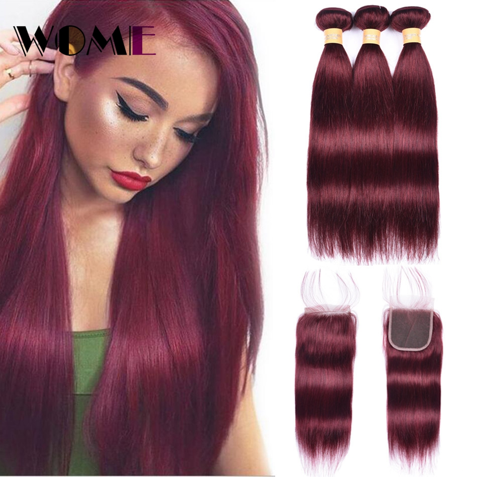 99J Bundles With Closure Malaysian Straight Hair Bundles With Closure Red Non remy Human Hair 3