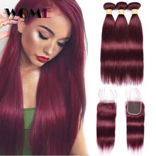 Wome Pre Colored 99J Dark Red Bundles With Closure Malaysian Hair Straight Bundles With Closure Non Remy Human Hair Pre Plucked(China)