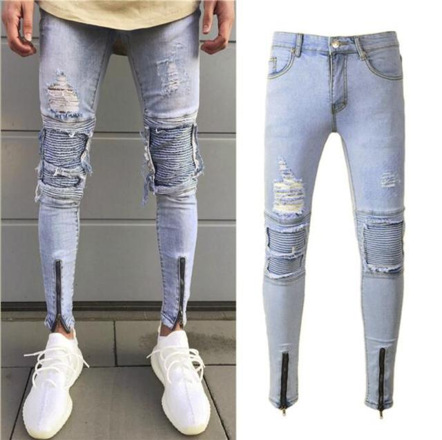 86c23d5b New Fashion Men's Casual Stretch Skinny Jeans Trousers Tight Pants Solid  Color Jeans Men Brand Mens
