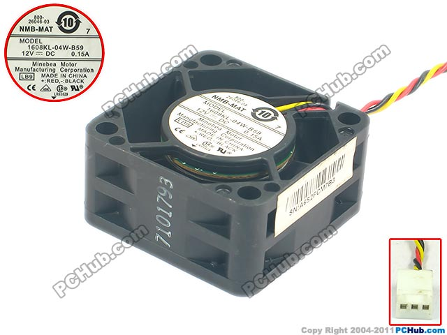 NMB-MAT 1608KL-04W-B59 LB9 Server Square Fan DC 12V 0.15A 40x40x20mm 3-wire nmb mat bt1002 b044 pol 02 server cooling fan dc 12v 0 70a 4 wire 4 pin connector