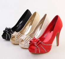 2016 New Style Satin Peep Toe High Heel Bridal Shoes Platform Single Shoes Lady Evening Party Banquet Pumps For Woman Size 34-40