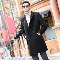2017 Autumn And Winter Fashion Trend Youth Style Small Fresh And Pure Color Casual Wool Cashmere Coat Suit Jacket Woolen Man