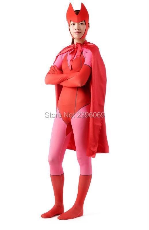 (AL153) rouge et rose super-héros femmes Lycra Spandex collants unisexe Zentai costumes Halloween fête Costume fétiche Zentai porter