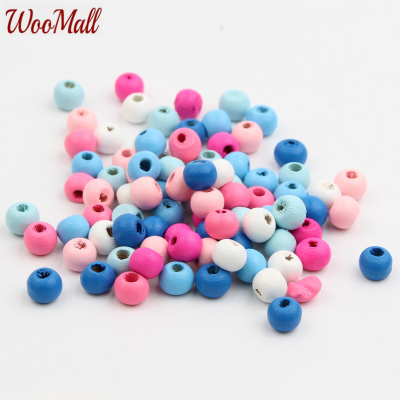 100pcs Blue Wooden Spacer Beads Jewelry Making Kids Toy crafts Accessories 9mm