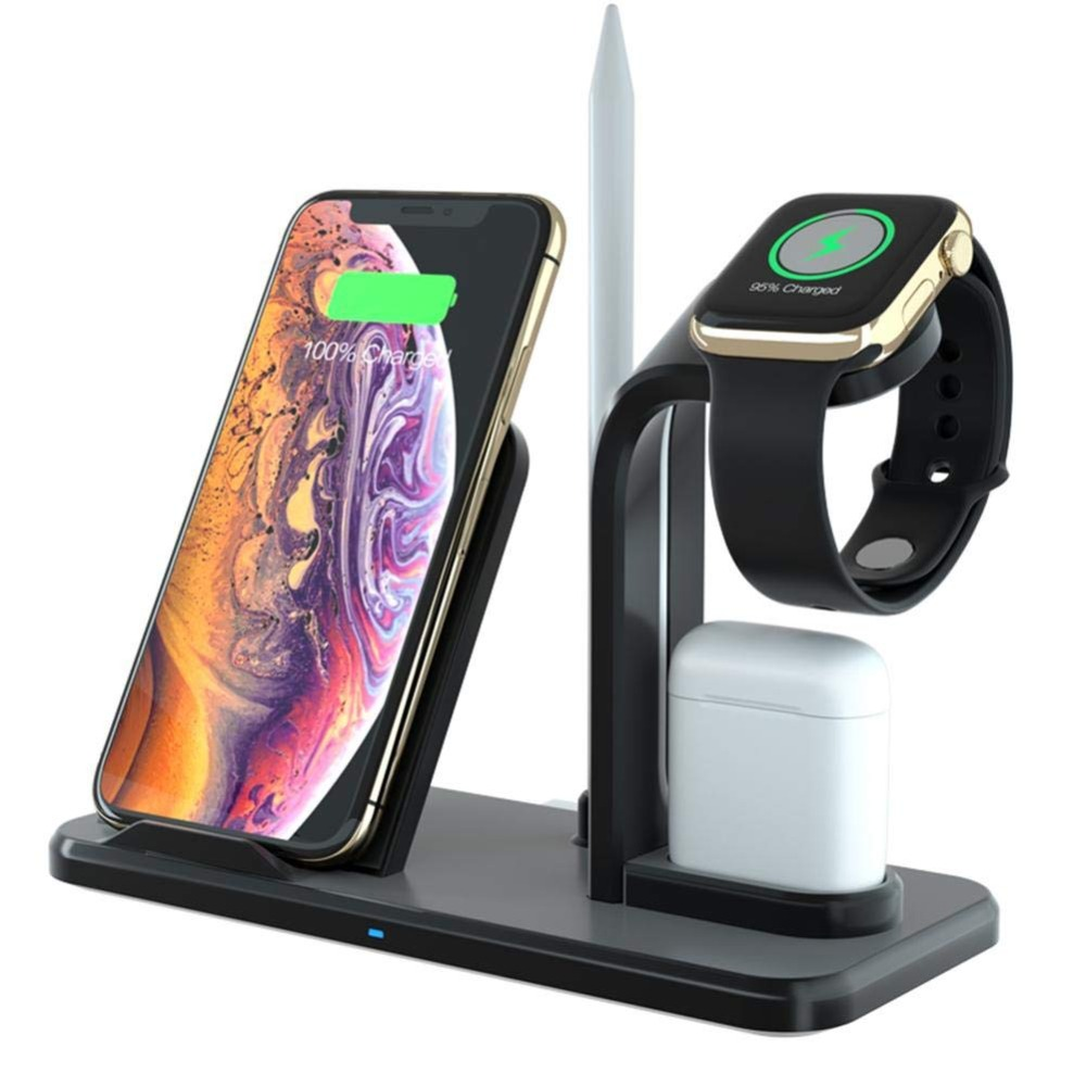 XINGDUO 3 IN 1 wireless charge Stand Qi Fast Charging Station Aluminum Charger Base for IPhoneX/XS/MAX/XR/8Plus/AirPods/ i Watch