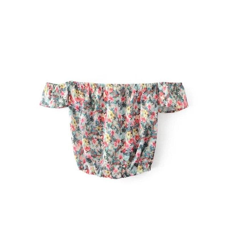 Mujeres Flor de Impresión blusas camisa corta parte superior 2017 del verano Sex