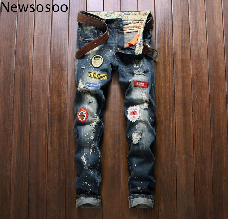 European American Style fashion brand mens jeans luxury Men casual denim trousers hole zipper Slim vintage blue jeans for men