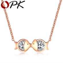 OPK Mini Fat Kissing Fish Design Women's Pendant Necklace Inlaid Cubic Zirconia Rose Gold Plated Length Adjustable Gift WY1115