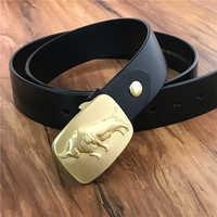 Brass Bull Belt Buckle Luxury Leather Belt Men Ceinture Homme Cowboy Jeans Strap Waist Belt Cinturon Hombre Men Strap MBT0377