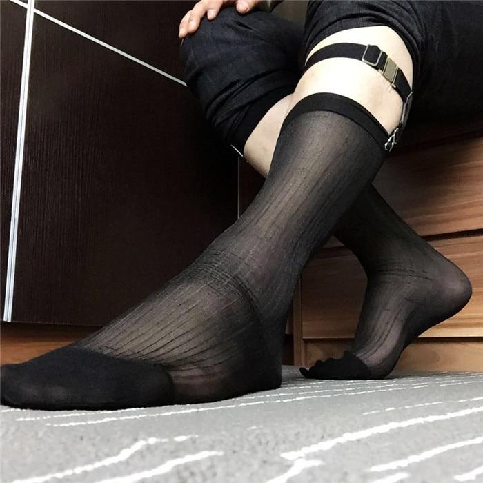SORRYNAM Hot New Socks Mens Sheer Silk Socks Hoses Transparent Sexy Men Stockings Dress Suit Formal Socks Gay Socks