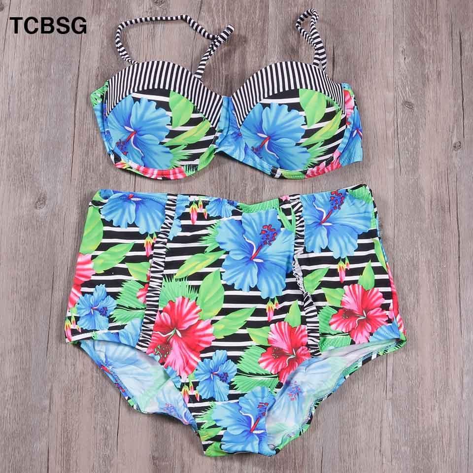 TCBSG 2019 New Swimwear Bikinis Sexy Women Swimsuit Summer Bandeau Bikini Printed Bikini Set Solid Beach Female Bathing Suits