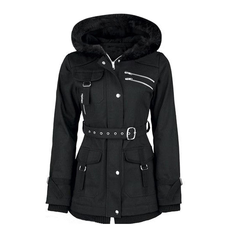 WinterJackets Casual Gothic Winter Warm OL Slim Thin Hooded Zipper Solid Asymmetric Black Simple Coats Female Overcoats