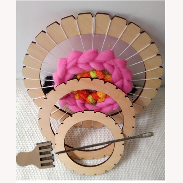 עגול אריגת נול כלי קרפט חינוכי עץ לארוג מכונה מסורתית עץ ילדים למבוגרים צעצוע מסגרת פיקסל סריגה צעצועים