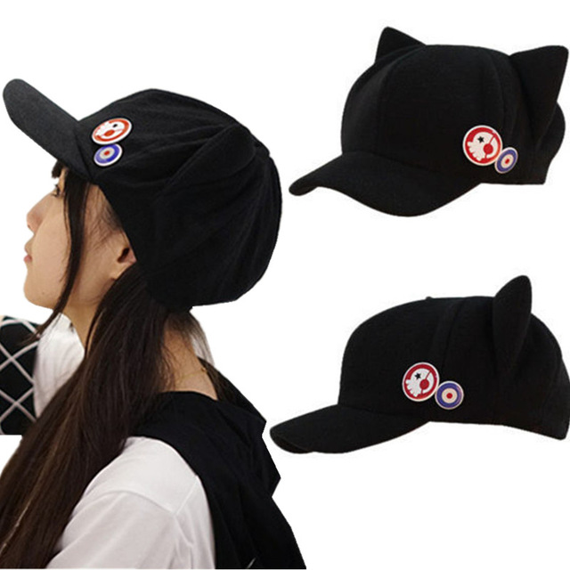 Anime Evangelion EVA Asuka Langley Soryu Hat Beanie Cat Ear with Badges Cosplay Accessories Black cap outdoor visor dome(China)