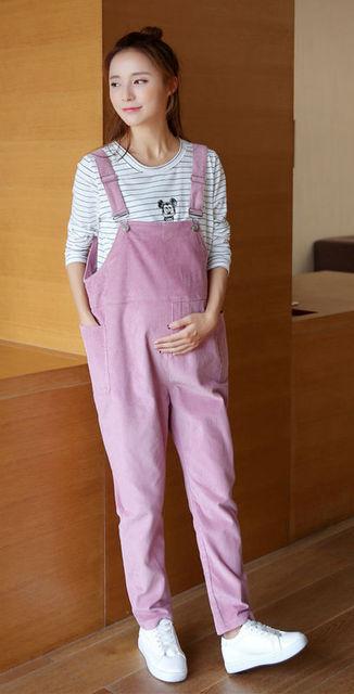 c4a8127b4ce5d Women's Corduroy Overall Maternity Jumpsuit Loose Rompers Baggy Pants  Pregnancy Bib panties Size M L XL XXL