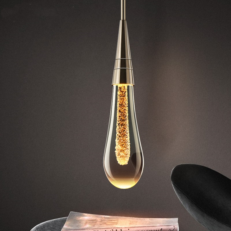 Best Buy 2019 Hot Designer LED Water Drop pendant light minimalist Scandinavian loft Crystal Hanging Lamp Creative Restaurant Light 32998445582