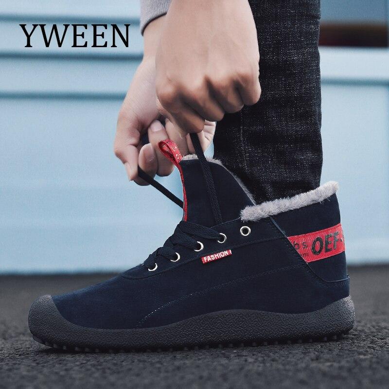 YWEEN Hommes Bottes D'hiver Avec de la Fourrure de 2018 Chaud Neige Bottes Hommes Bottes D'hiver Chaussures Hommes Chaussures De Mode En Caoutchouc Cheville chaussures 39-48