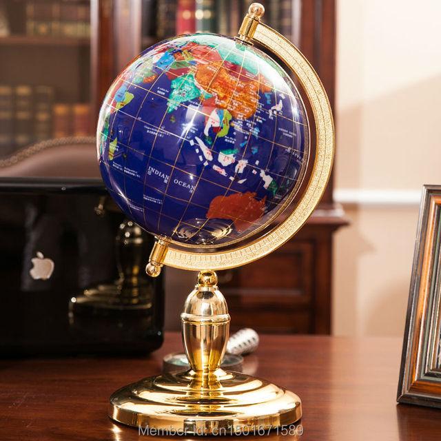 Gemstone World Map.Beautiful Semi Precious Gemstone Inlay Globe World Map With Metal
